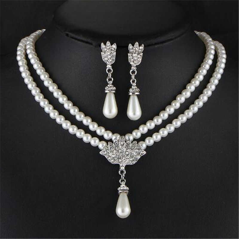 2019 Imitation pearls Bridal Jewelry sets for Women Silver Plated Rhinestone Necklace earring Sets Wedding Jewelry