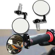"Мотоцикл черный 7/"" круглый бар конец заднего зеркала мото мотоцикл скутеры боковое зеркало заднего вида зеркала Кафе Racer"
