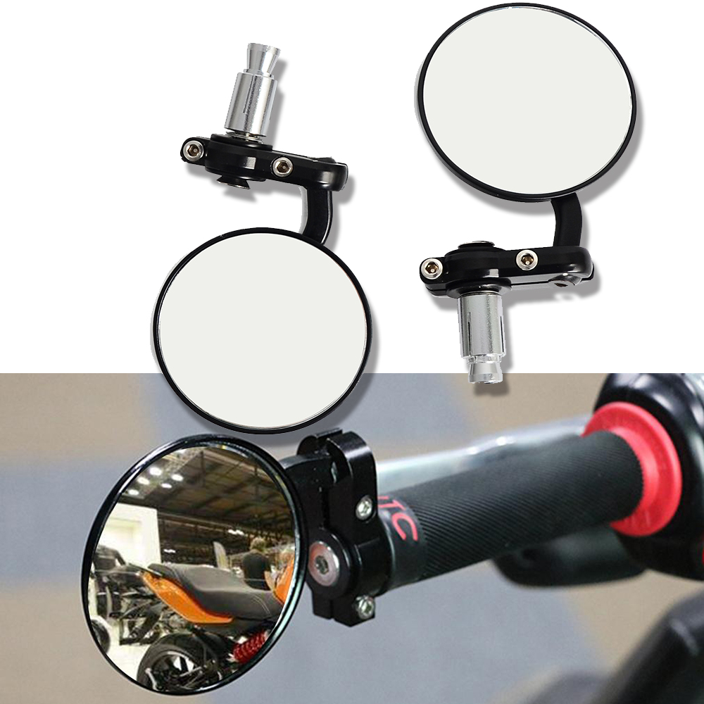 Motorcycle Black 7/8 Round Bar End Rear Mirrors Moto Motorcycle Motorbike Scooters Rearview Mirror Side View Mirrors Cafe Racer image
