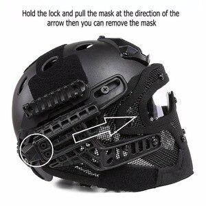 Image 5 - Airsoft Helm Paintball Full Face Militaire Beschermende Gezichtsmasker Tactische Camouflage Masker Volgelaatsmasker Snelle Helm Met Masker
