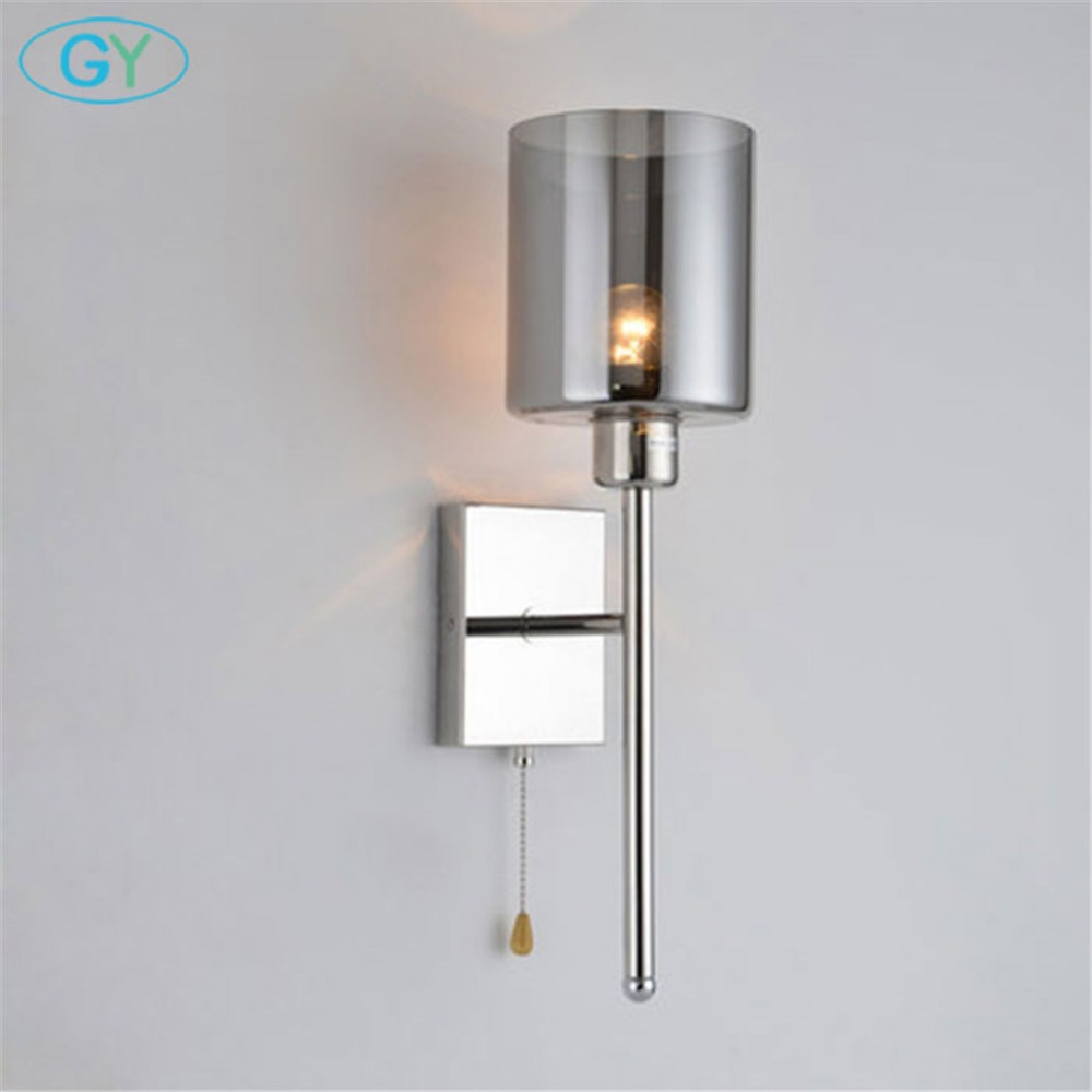 Modern Sconce Wall Lights Led Bulb Indoor Lighting Wall Mount Bedside Lamp With Pull Chain Switch Glass Shade Led Lamp Wall Lamp