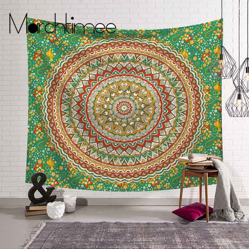 Red Large Mandala Tapestry Home Art Wall Decor Indian Wall Hanging Bohemian Beach Towel Polyester Thin Blanket Yoga Shawl Mat