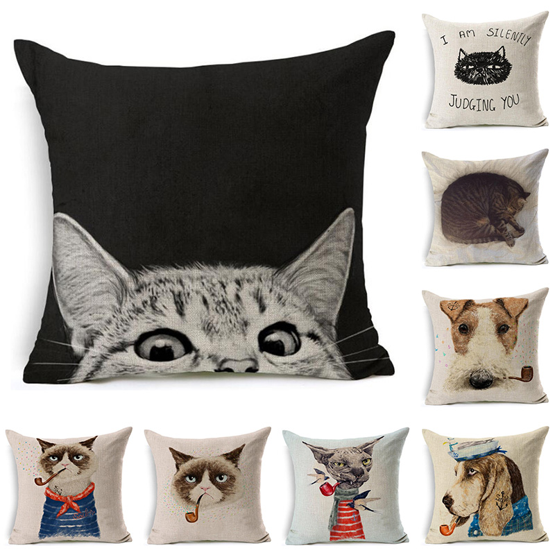 Smoking Cat Dog Printed Cotton Linen Pillowcase Decorative Pillows Cushion  Use For Home Sofa Car Office