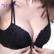 PAERLAN 와이어 무료 프론트 클로저 여성 브래지어 5/8 컵 활 꽃 레이스 작은 가슴 섹시한 다시 조끼 유형 원활한 속옷을 밀어