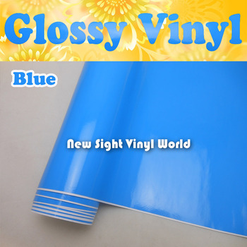 Blue Glossy Vinyl Car Wrapping Air Bubble Free Shiny Blue Gloss Film Vehicle Wrap Foil Car Stickers Size:1.52*30m/Roll