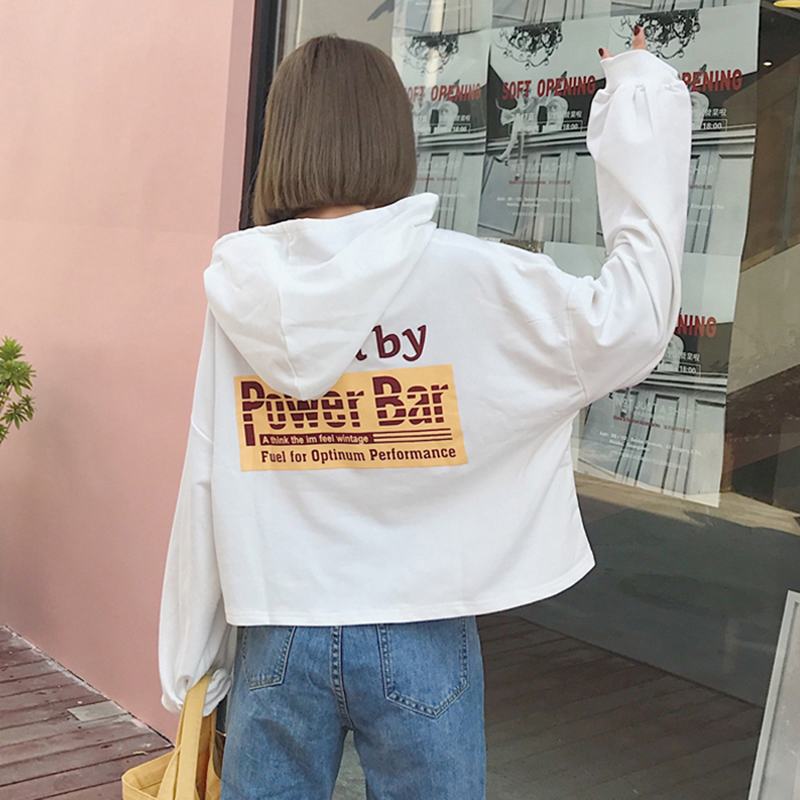 Fashion Womens Hoodies Casual Harajuku Female Letter Printed Women Tops Korean Student Style New Trendy Hooded Females Pullover