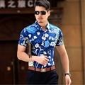 Summer Luxury Mens Mercerized Cotton Shirt Short Sleeve Flower Printing  Non-Iron Fabric Casual Slim Brand Clothing Cargidan