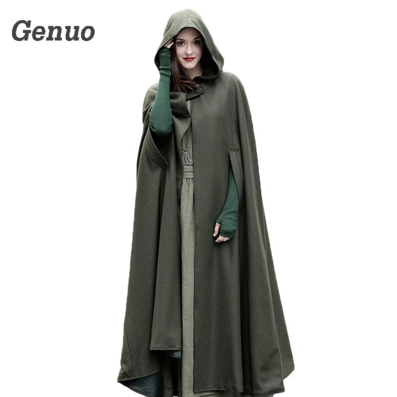 Medieval Winter Cloak Hooded Coat Thin Women Vintage Gothic Cape Poncho Coat Cardigans Long   Trench   Overcoat 2018 Casaco Feminin