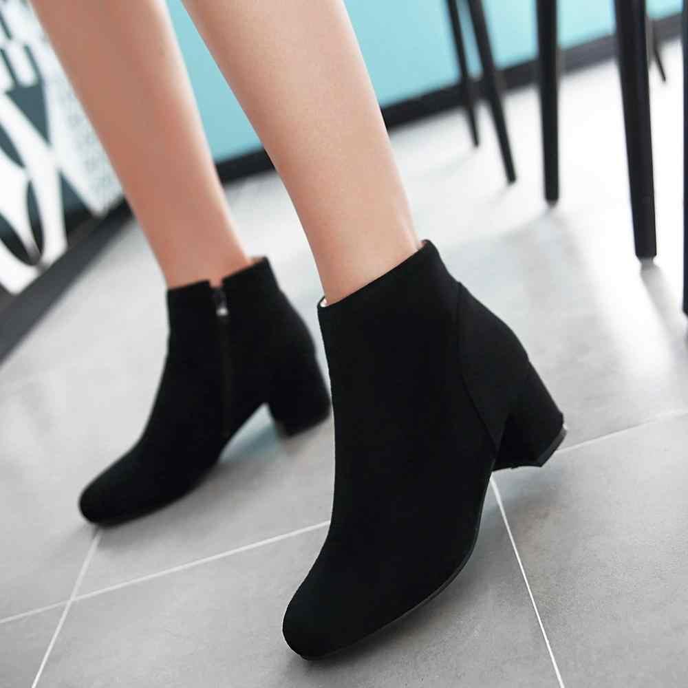 Mavi Siyah Bej yarım çizmeler Kadınlar için Rahat Kalın Topuk Sonbahar Kış Çizmeler Moda Yuvarlak Ayak Patik 2020 Yeni Ayakkabı Artı boyutu