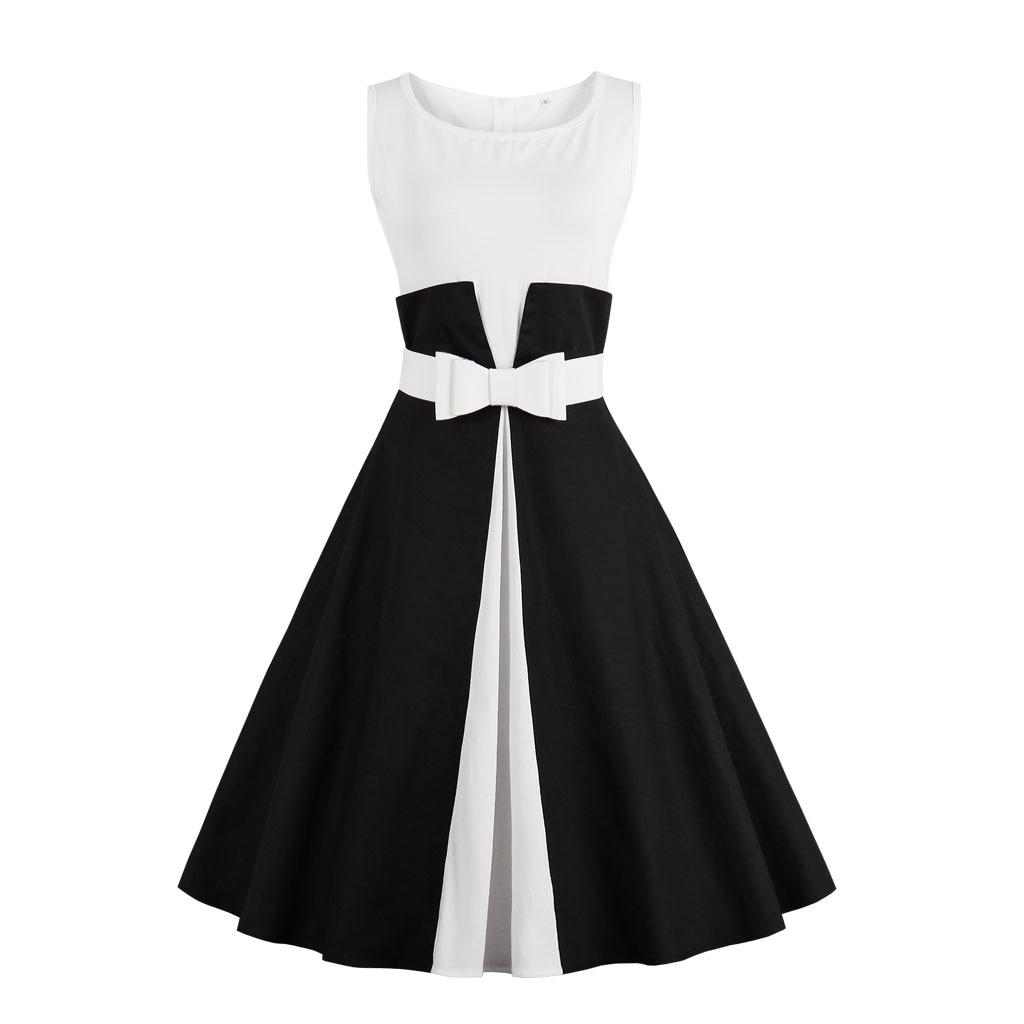 2017 Novo Verão Vestido Sem Mangas patchwork estilo 1950 s Rockabilly Vestido Preto Branco Das Mulheres Do Partido Do Vintage Vestido Feminino Vestidos