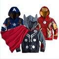 Мстители 3-10yrs мальчика и девочки мода и пальто, Мальчика тор косплей куртка, Капитан америка куртки. Девочек и мальчиков толстовки
