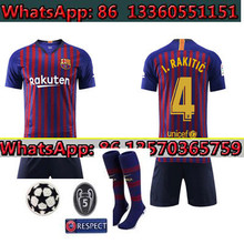 737ac33ba Adult Set 2018 Barcelona jersey Champions League patch+sock Messi Suarez  Iniesta football shirt 18 19 Coutinho DEMBELE home foot