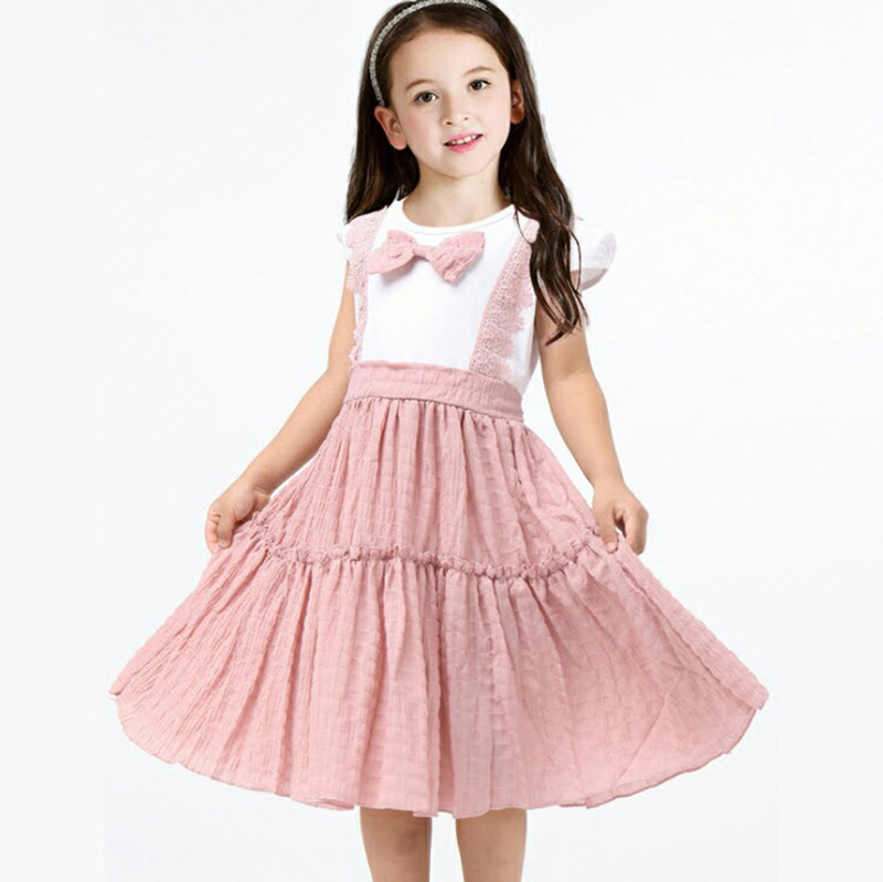 Girls Pink Bow Dress 2018 New Arrival Cake Dress Cute Cotton Clothing Children Cotton Dresses Kids Party Frocks 3-8Y GD92