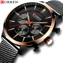 цена на CURREN Fashion Men Watch Creative Black 3 Sub Dial Watches Date Waterproof Stainless Steel Mesh Band Luxury Quartz Clock For Man
