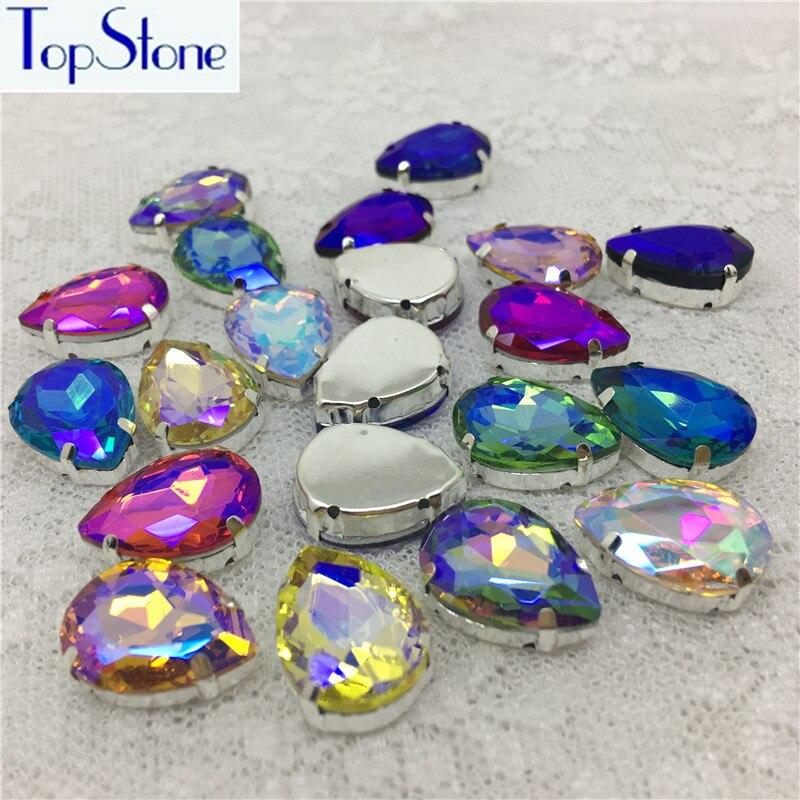 Cristallo Di vetro Teardrop Gocciolina Cuce Sulle Strass Con Regolazione Artiglio D'argento Tutti AB Colori Sew-On Stone 10x14 ~ 20x30 MM