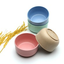 HOT!!!4pcs/Set Noodle Bowl Eco-Friendly Wheat Straw Soup Fruit Rice Salad Bowl For Kids Food Container Gift