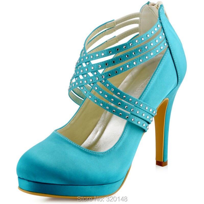 Women High Heel Shoes Rhinestones Zip Size 35 Teal Satin