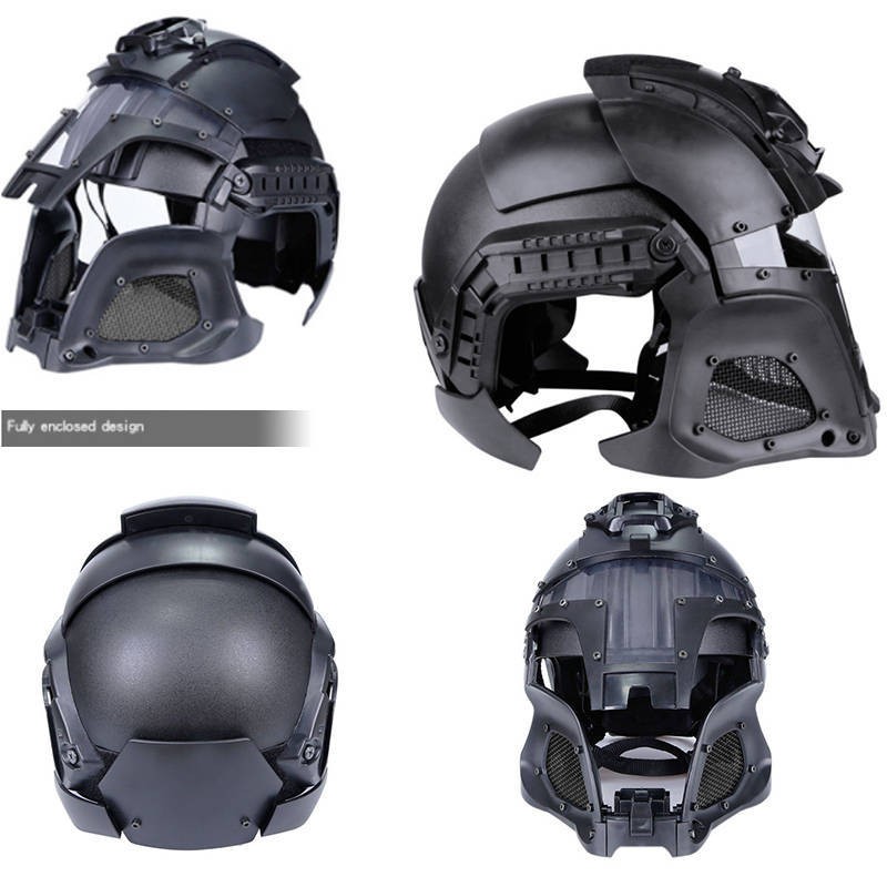 Military Tactical Sports Unisex Helmets Covers Outdoor Paintball Fast Helmet Full Face Safety Mask Retro Head Protector(China)