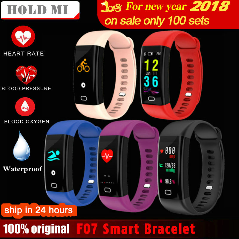 Tenir Mi F07 Étanche Smart Bracelet Moniteur de Fréquence Cardiaque Sang Pression Fitness Tracker Smartband Sport Montre pour ios android