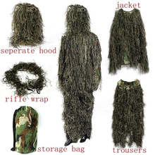 цена на Tactical Camouflage Woodland Sniper Ghillie Suit Secretive Hunting Clothe Invisibility Cloak Clothing 3D camouflage Hunting set
