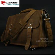 LEXEB Office Bag Leather Vintage Crazy Horse Men's Briefcases For 15.6 Inches Laptop Business Bag Men Fashion Handbags Brown