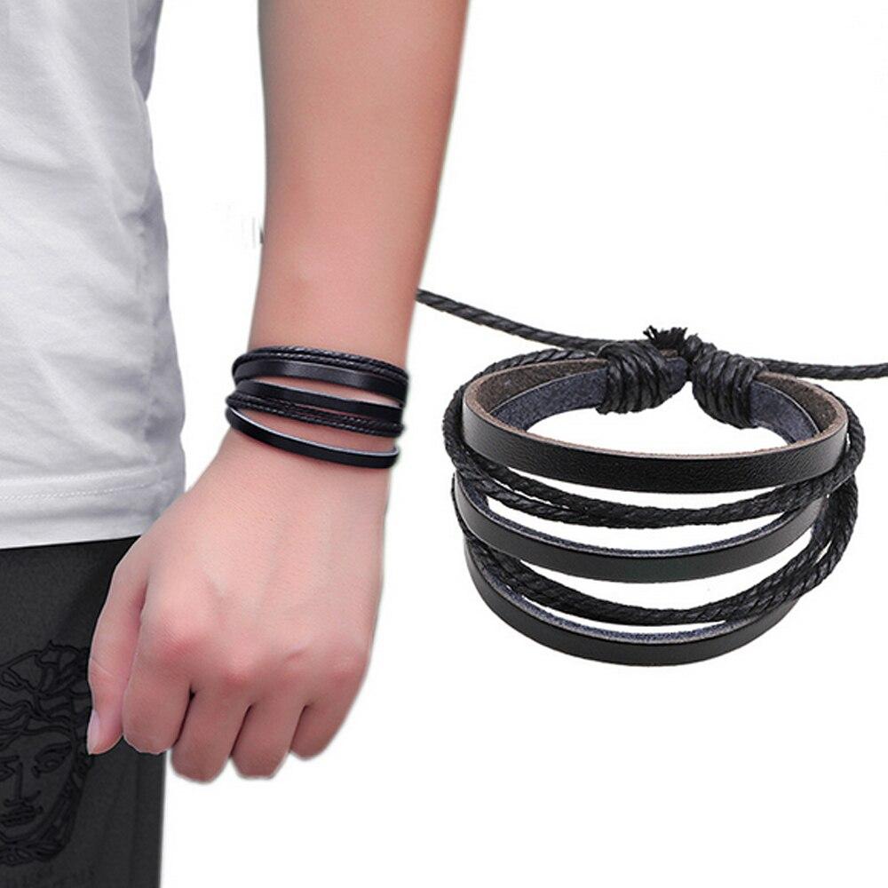 cc170 cool multi layer mens bracelet homme rope leather bracelet men femme woven bracelets for. Black Bedroom Furniture Sets. Home Design Ideas