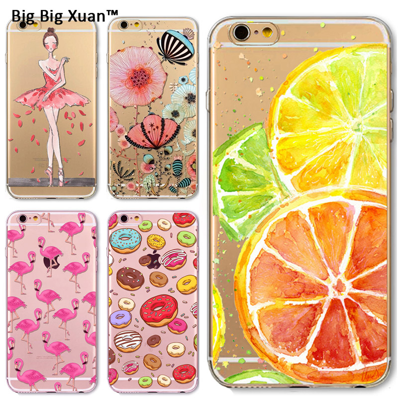 For Iphone 4 4S 5 5S SE 6 6s Plus Ultra Thin Pretty Girl Fruit Crystal TPU Customize Case Back Skin Fundas Silicone Gel Case