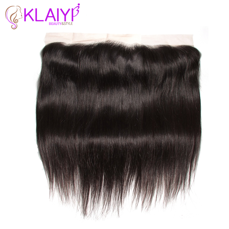 Klaiyi Hair Ear To Ear Lace Frontal Closure 13X4 Without Baby Hair Brazilian Straight Human Hair Free Part Remy Hair Front