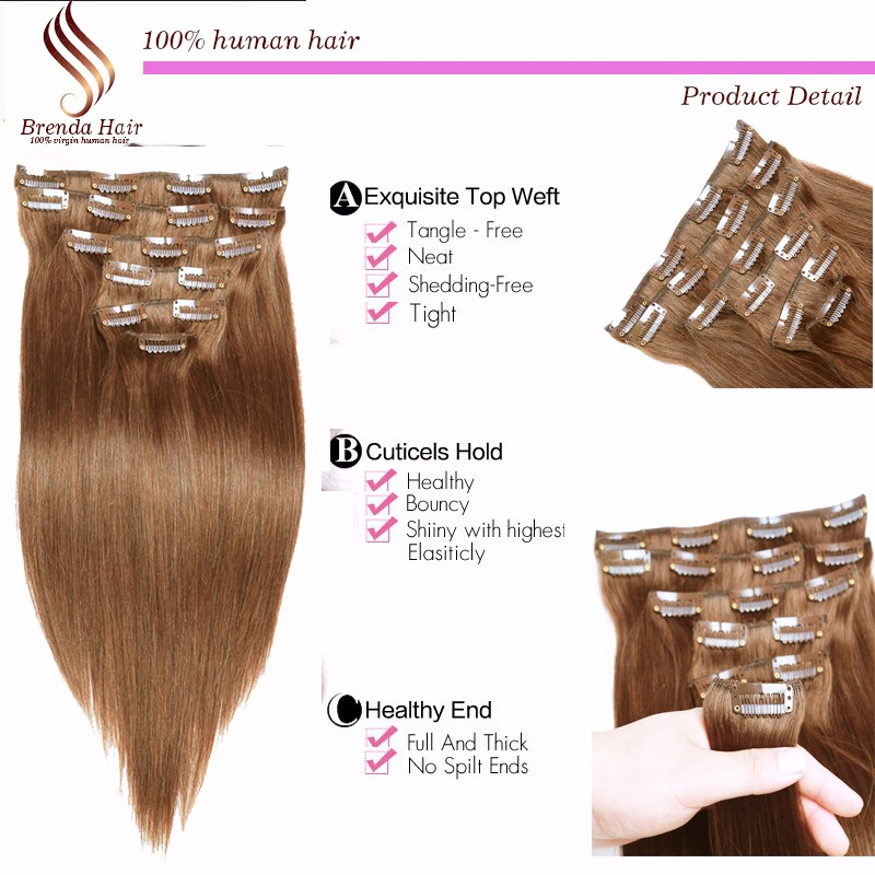 Silky Straight Brazilian Clip in Hair Extensions Human Hair,100% Virgin Hair Extension, 7-10 Pcsset light Brown #4  Clip ins (2)