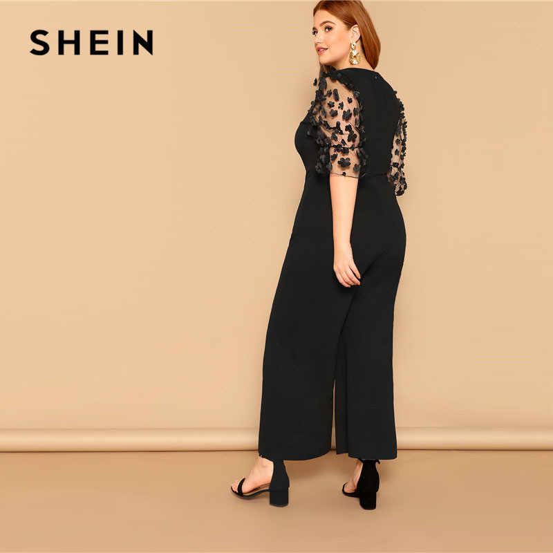 c09acc27c8 ... SHEIN Black Women Applique Half Mesh Sleeve Palazzo Plus Size Wide Leg  Jumpsuits 2019 Spring Elegant ...