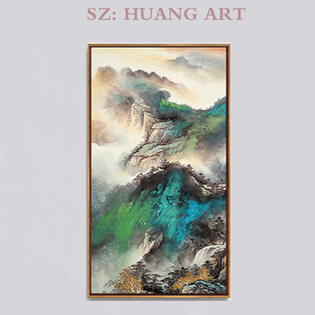 Original modern green mountain spring scenery handmade  oil painting on the wall of porch is decorated hall corridor club villa