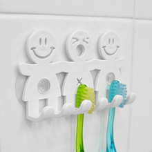 Smile Face Bathroom Kitchen Toothbrush Towel Holder Rack Wall Sucker Hook Stand