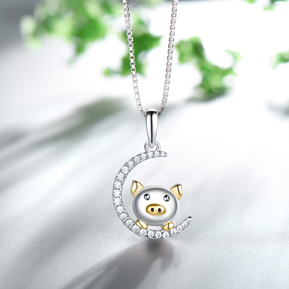 silver chinese new year gift pig pendant for women  (4)