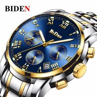 business Biden luxury mens wristwatches quartz stainless steel man watches waterproof calendar luminous clocks Citizen movement