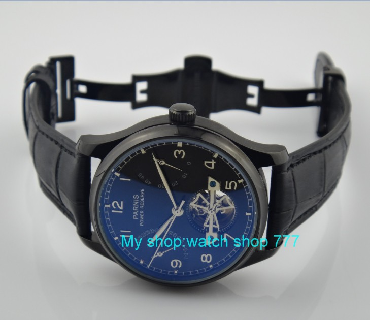 43mm parnis  Black dial Self-Wind machinery movement  butterfly buckle Mechanical watches pvd case Men