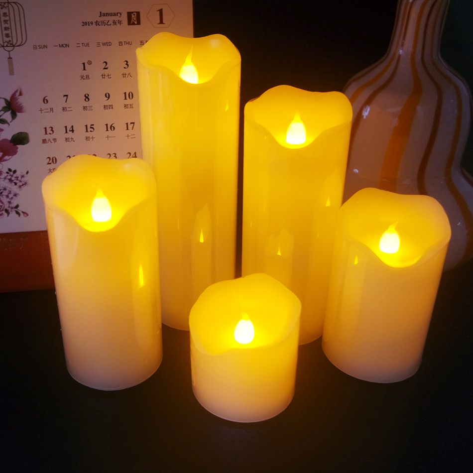 Bougie de cire menée sans flamme pour la noce décorative 5 pièces/ensemble, décoration de saint-valentin, barre, KTV, lumière d'atmosphère de café