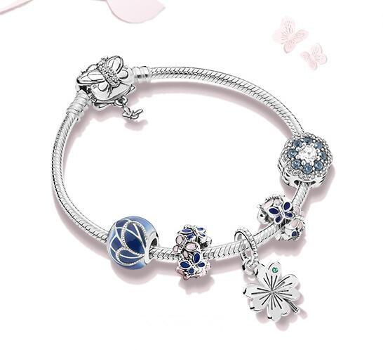 Original 925 Sterling Silver Bead Charm Lucky Four leaf Clover Set Beads Pandora Women Bracelet Bangle Diy Jewelry