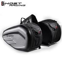 2018 wholesale retail PVC CARBON LOOK Saddle Bag Motorcycle Side Helmet Riding Travel Bags + Rain Cover One Pair 36l 58l