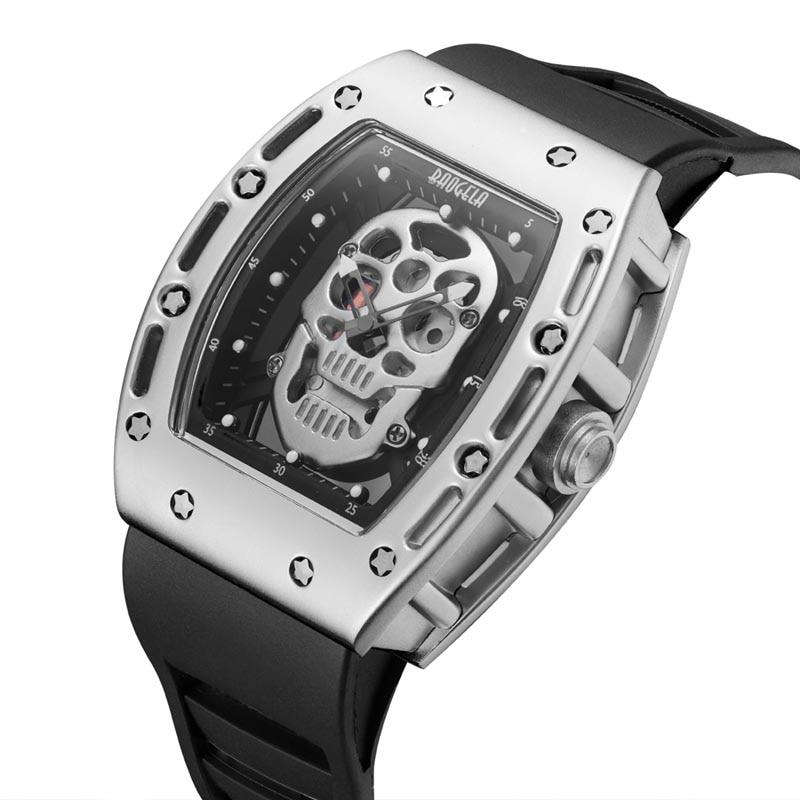 BAOGELA Male Waterproof Sports Watch Skulls Hollow Out Watch Luminous Male Watch Quartz Watch With Black High Quality Strap цены