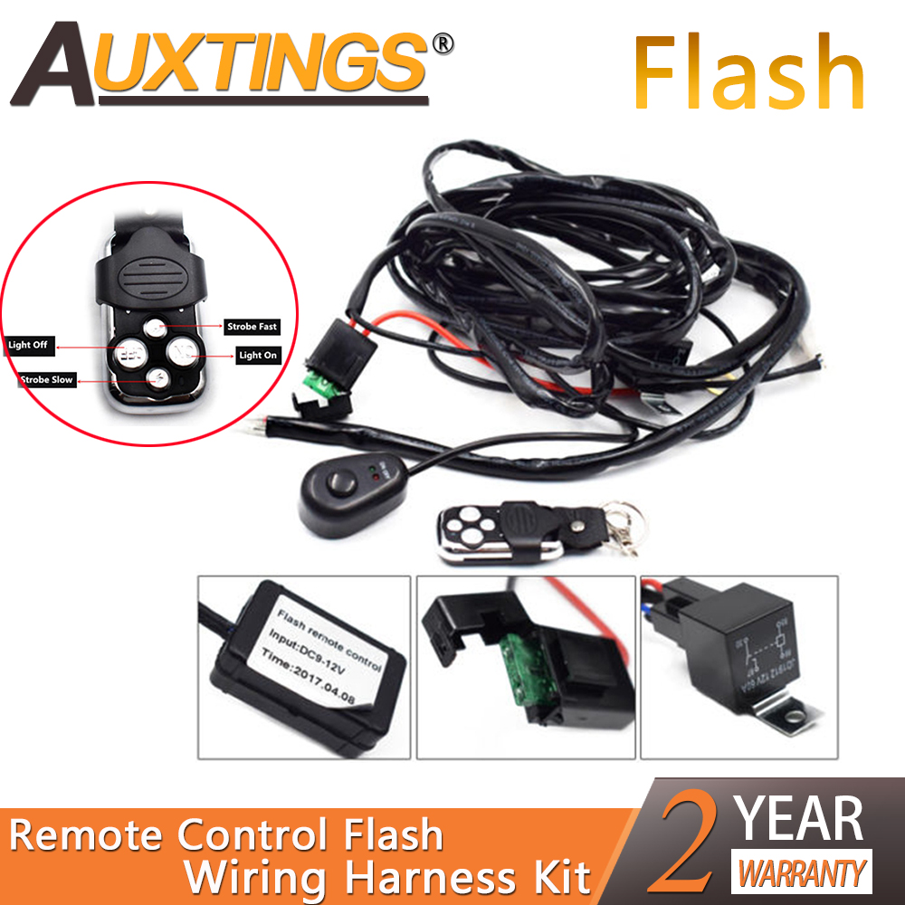 Auxting Remote Control Wiring Harness Kit 40A 12V DC For 120/240/300W LED Light Flash Strobe 2Lead Work Light Wiring Harness Kit