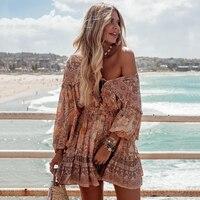 Jastie Frill Ruffle Boho Dress Gypsy Print Mini Dresses V Neck Long Sleeve Beach Playdress 2019 Womens Clothing Female Vestidos