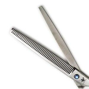 Image 3 - Siyah şövalye 7.5 inç profesyonel Pet saç makas kuaförlük berber köpek tımar inceltme makasları 48 diş