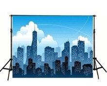 Céu azul Skyline Da Cidade backdrops Computer impresso partido Fundos Vinil pano de Alta qualidade