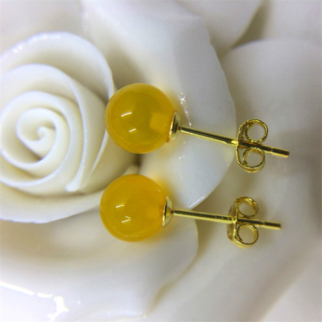 6mm S925 Sterling Silver Fine Jewelry Stud Earrings For Women Small Natural Red Agate Yellow Chalcedony Round Bead Aretes -in Earrings from Jewelry & Accessories on Aliexpress.com | Alibaba Group