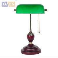 Led e27 Chinesischen Vintage Grün Glas Holz Led-lampe LED-Licht. Tischlampe. Schreibtischlampe. LED Schreibtischlampe Für Büro Schlafzimmer Studie