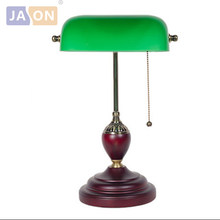 led e27 Chinese Vintage Green Glass Wooden LED Lamp LED Light .Table Lamp.Desk Lamp.LED Desk Lamp For Office Bedroom Study(China)