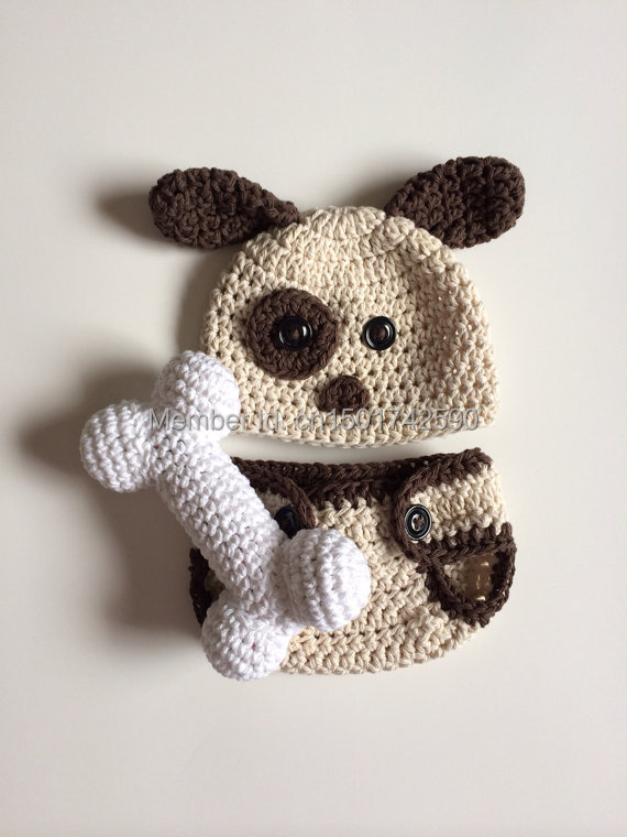 Recién Nacido cachorro sombrero y pañal cubierta crochet perro ...