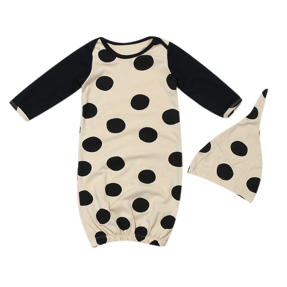 2pcs/set Newborn Baby Sleeping Bag Kids Girl Boy Long Sleeve Stitching Black Dot Blanket ...