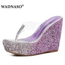 WADNASO 2019 New Sequins 12cm Heel Thick Bottom Platform Slippers Summer Women Beach Wedges Shoes Sexy High Flip Fops Slip
