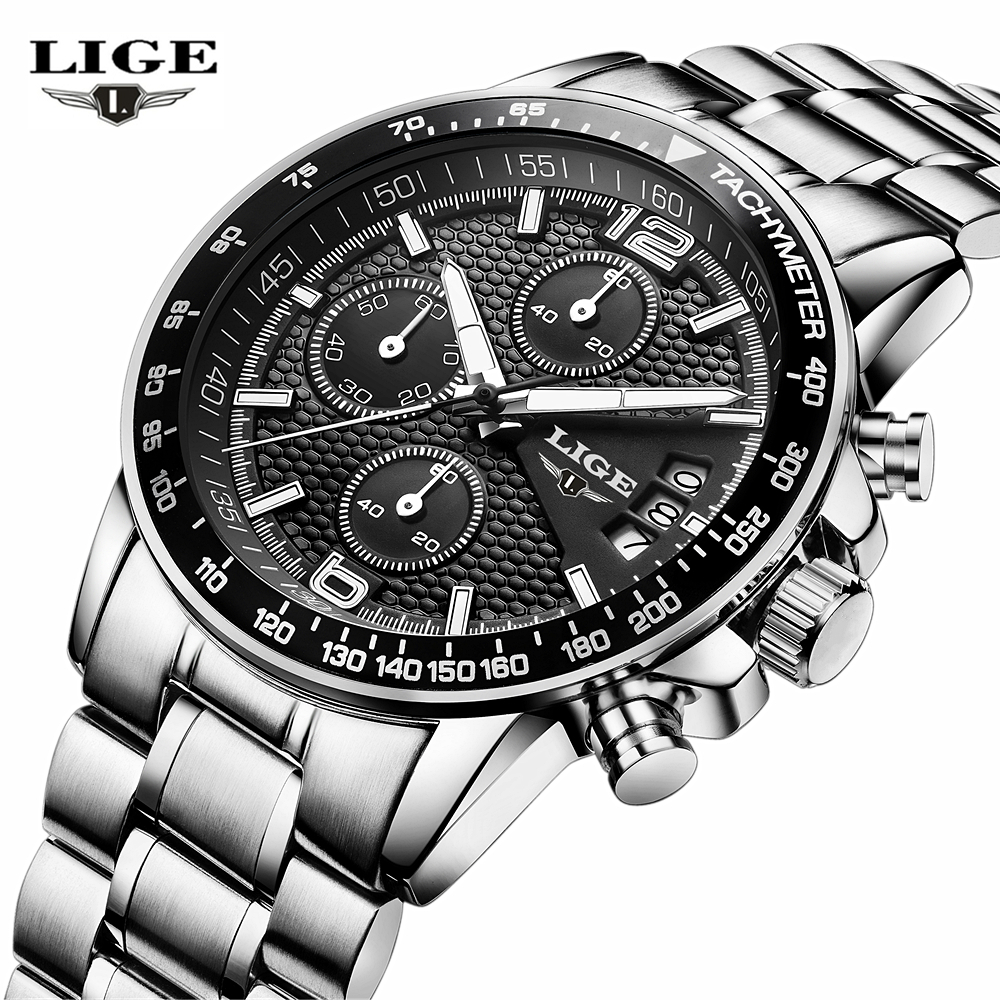 LIGE Luxury Brand Men Watches Six pin Full Stainless steel Military Sport Quartz Watch Man Fashion Casual Business Wristwatches fashion man watch silver quartz sport business wristwatches stainless steel mesh clocks male luxury date casual watches for men
